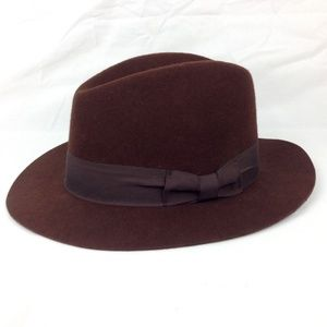 Disney Parks Brown Wool Felt Fedora Hat Adult L/XL
